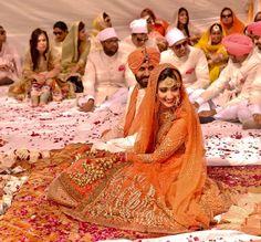 :) www.amouraffairs.in Indian Bride Lehenga gold border zari zardozi wedding, bridal, bride, lehenga, gorgeous, elaborate, wow, pink, golden details, hairstyle, pretty