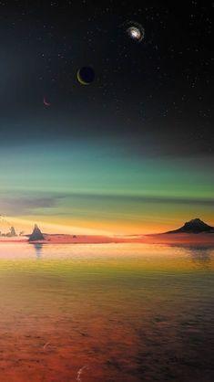 Colorful Seaside Landscape Fantasy #iPhone #5s #Wallpaper