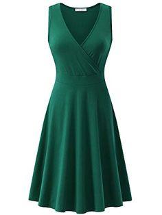 Women/'s Summer Sleeveless Button Flare Tank Dress Beach Wear Cotton W// 2 Pockets