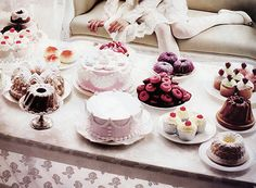 Perfect tea table, filled with cake!