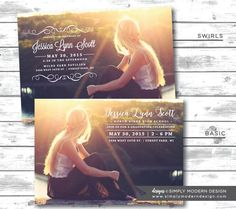 elegant graduation announcement or invitation, high school, college, card, senior, PRINTABLE