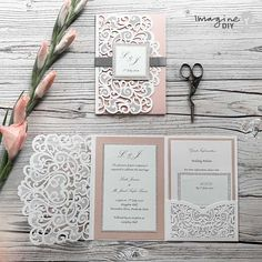 How To Make . Laser Cut Pocket Invitations - Imagine DIY - DIY wedding stationery and invitations supplying brides to be, craft addicts and wholesalers. Be inspired to get creative with our fantastic range. Diy Wedding Stationery, Laser Cut Wedding Invitations, Diy Invitations, Elegant Wedding Invitations, Wedding Invitation Cards, Wedding Cards, Our Wedding, Dream Wedding, Wedding Ideas