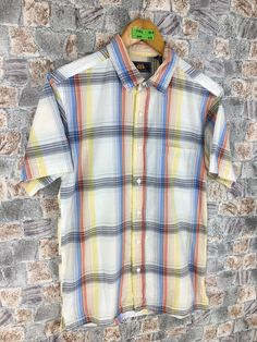 Excited to share this item from my #etsy shop: Vintage Checkered Flannel Shirt Small Plaid Checkered Rainbow Multicolor Hipster Minimalist Grunge Oxfords Button Up Size S #shortsleeveflannel #bohoflannel #plaidcheckered #flannelsmallshirt #eclecticgrunge #oldflannel #multicolorflannel #menflannelshirt #hipsterflannel