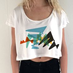 Claws Lightning Colorful Abstract Graphic CropTop Tee | Hand Made Clothing | Women's Clothing | White Crop Top | Bohemian Shirt - (188)