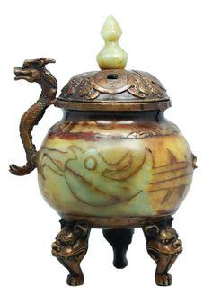 19th c. Chinese Jade & Bronze Handled Censor.
