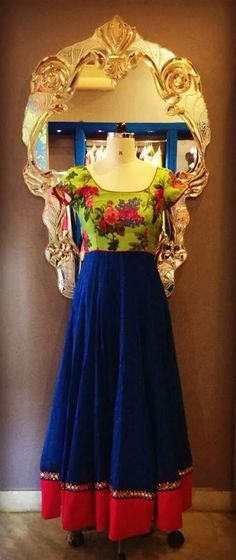 #floral #green #blue #anarkali