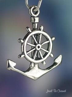 Boat Anchor and Wheel Charm for Nautical Ocean by jewelbecharmed, $10.95