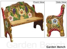 mexican furniture color carved | Rustic Furniture - Mexican Rustic Garden Double Carved Bench
