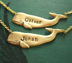 Personalized Whale Necklaces OMG i need this for Paul and I :D