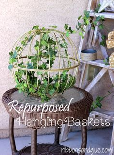 Simple Flower Hanging Baskets repurposed into Home Decor. Just attach two iron baskets together and spray paint.   So many possibilities!
