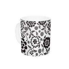 "Nicole Ketchum ""Cherry Floral White"" Ceramic Coffee Mug"
