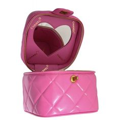 View this item and discover similar for sale at - Very rare pink Chanel quilted vanity case bag with a heart shaped mirror and large CC logos. Vintage Chanel, Vintage Bag, Heart Mirror, Luxury Purses, Luxury Handbags, Designer Wallets, Chanel Classic Flap, Mini Purse, Vintage Handbags