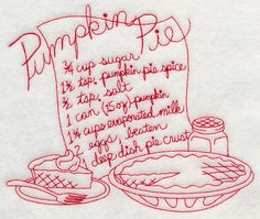 Pumpkin Pie Recipe (Redwork)