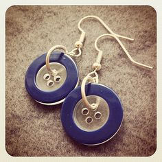JDRF - Button Earrings - 5 Dollars of Proceeds goes to Juvenile Diabetes Research Fund