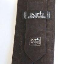 Hermes Paris Dark Brown Silk Jacquard Textured H Lined Tie Necktie #HERMS #Tie