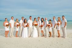 All White Beach Wedding Love The Pops Of Color That Flowers Provide
