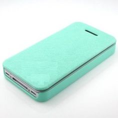 Bee Summer Mint Blue Design No Magnet Leather Flip Cell Phone Case Cover Wallet Protective Skin Against Grease Cracks Scratches Abrasions Dust for Iphone4/4s: Cell Phones & Accessories