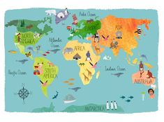 Cute World Map Wallpaper Fresh Inspiration Hand Drawn Maps Co And World Geography Map, World Map Wallpaper, Map Painting, Country Maps, Map Design, Travel Maps, Travel And Leisure, Map Art, North America