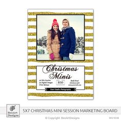 INSTANT DOWNLOAD  Christmas Minis Marketing Board, Winter Mini Sessions, Holiday Mini Sessions - Photoshop PSD Template 5x7 - s538