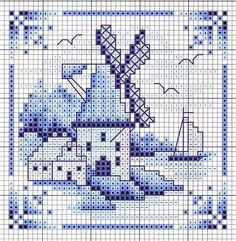 cross-stitch chart Delf tile windmill & sailing boat... no color chart available, just use the pattern chart as your color guide.. or choose your own colors...