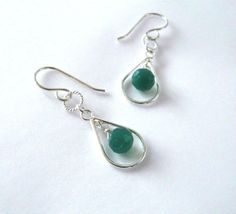 Emerald Green Onyx Gemstone Earrings by SendingLoveGallery on Etsy, $28.00