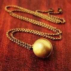 Secret Message Locket - Vintage Brass Ball Locket Necklace. $20.00, via Etsy.