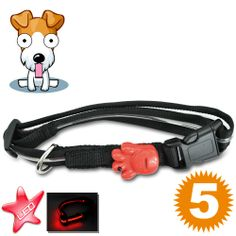 Red LED Dog Collar (Water Resistant, Safe & Comfortable)