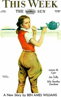 Penrhyn Stanlaws (Penrhyn Stanley Adamson) (1877-1957), American / cover of This Week magazine in The Baltimore Sun, October 4, 1936 ... depicts young woman in riding clothes (jodphurs)  drinking tea and eating a sandwich