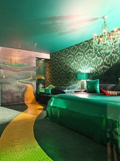 """Follow the Yellow Brick Road to """"The Wizard's Emeralds,"""" a Big King Suite."""