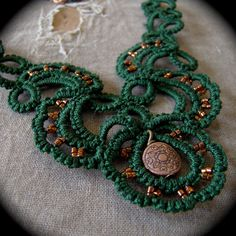 Tatted Lace Necklace  Trailing Scrolls  Forest Green by TotusMel, $48.00