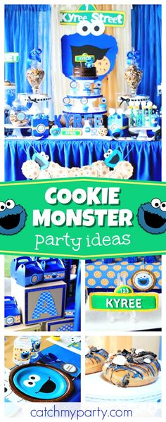 Check out this fun Cookie Monster birthday party! The birthday cake is awesome!! See more party ideas and share yours at CatchMyParty.com #sesamestreet #cookies #cookiemonster