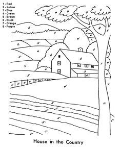 Easy House In The Country Color By Number Coloring Page