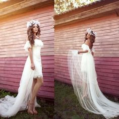 Sexy Off-Shoulder Hi-Lo Beach Lace Wedding Dresses Bridal Ball Gown Custom Size