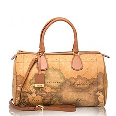 Alviero Martini First Class Bowler Bag Large Shoulder Bag With Two Handles Print Geo Classic