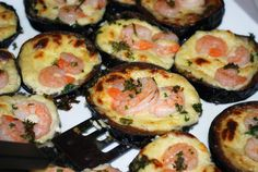 eggplant with cheese and shrimp/ tappas