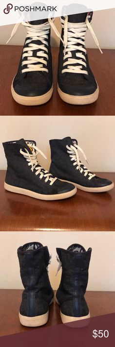 Coach High-Top Denim Sneakers Size 8.5 These are an awesome pair of lightly worn Coach high top denim sneakers. They have a cool print on the inside if you wanna fold the sides down, too! Coach Shoes Sneakers