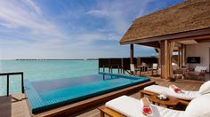 The villas and suites at Hideaway Beach Resort, Maldives are set on the beach on stilts over the beautiful lagoon with uncompromised privacy.