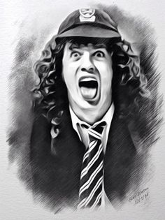 Angus Young Digital Art - Angus Young Sketch by Scott Wallace