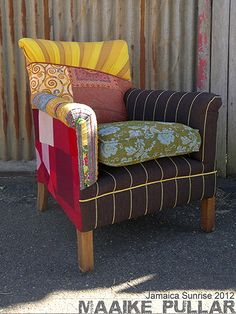 Jamaica Sunrise - reupholstered from the ground up featuring asymmetric backline and traditional fabrics from india and Laos