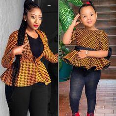 Babygirl's & showing us how to rock Ankara peplum tops 🌼🖤 African Fashion Ankara, Latest African Fashion Dresses, African Print Fashion, African Print Clothing, African Print Dresses, African Dress, African Attire, African Wear, Dresses Kids Girl