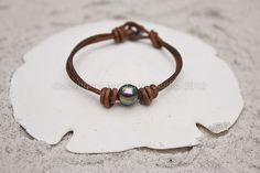 Perle d'acqua dolce e bracciale in pelle braccialetto di