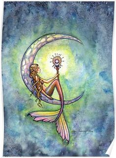 Mermaid Moon Watercolor Fantasy Art Shower Curtain by Molly Harrison Fairy Art and More - CafePress Mermaid Canvas, Mermaid Prints, Mermaid Artwork, Mermaid Paintings, Mermaid Drawings, Mermaid Fairy, Mermaids And Mermen, Fantasy Mermaids, Mermaid Tattoos