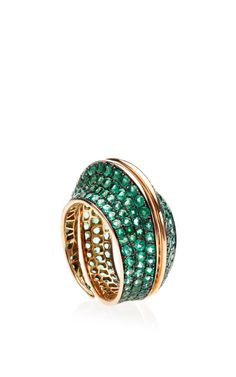 Rosamaria G Frangini | High Green Jewellery | Full Pave Emerald And Rose Gold Ring