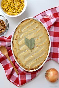 Vegan Lentil Shepherd's Pie with Roasted Garlic Mashed Cauliflower