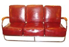 American Art Deco Moderne Chrome and Wood Sofa | Modernism
