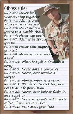 NCIS-- another version of Gibbs Rules
