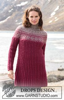 "DROPS 116-48 - DROPS Tunic in ""Karisma"" with Norwegian pattern, cables and round yoke. Size S to XXXL. - Free pattern by DROPS Design"
