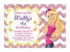 SALE Barbie Invitation, Barbie Birthday Party Invitation, Printable Barbie Invitation, Custom Barbie Invitation, Digital Download  Ask a Que by DesignsbyLyssaLou on Etsy https://www.etsy.com/listing/177321706/sale-barbie-invitation-barbie-birthday