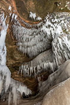 Mainland Ice Caves, Apostle Islands National Lakeshore near #Bayfield