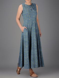 IndigoIvory Ajrakhprinted Round Neck Cotton Dress is part of Dresses - Kurta Designs Women, Salwar Designs, Kurti Designs Party Wear, Saree Blouse Designs, Cotton Dresses Online, Linen Dresses, Casual Dresses, Fashion Dresses, Dress Online